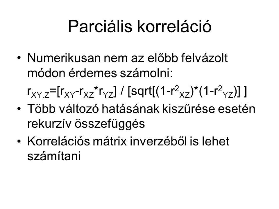 Parciális korreláció Numerikusan nem az előbb felvázolt módon érdemes számolni: rXY.Z=[rXY-rXZ*rYZ] / [sqrt[(1-r2XZ)*(1-r2YZ)] ]